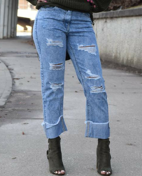 Damsel in Distressed Cropped Denim Jeans
