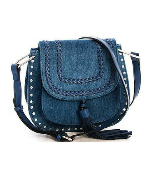 Denim Crossbody Messenger Bag