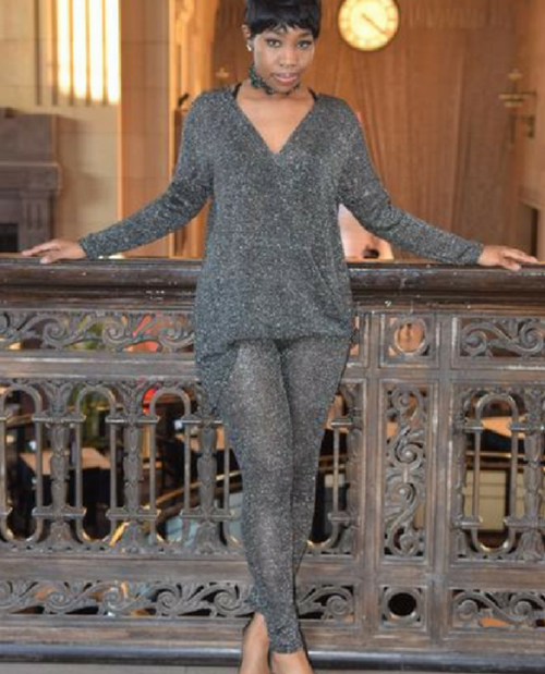 Metallic Lux Top & Legging Lounge Set