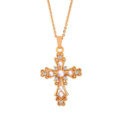 LEIGH PEARL CROSS NECKLACE - Princess J. Jewelry