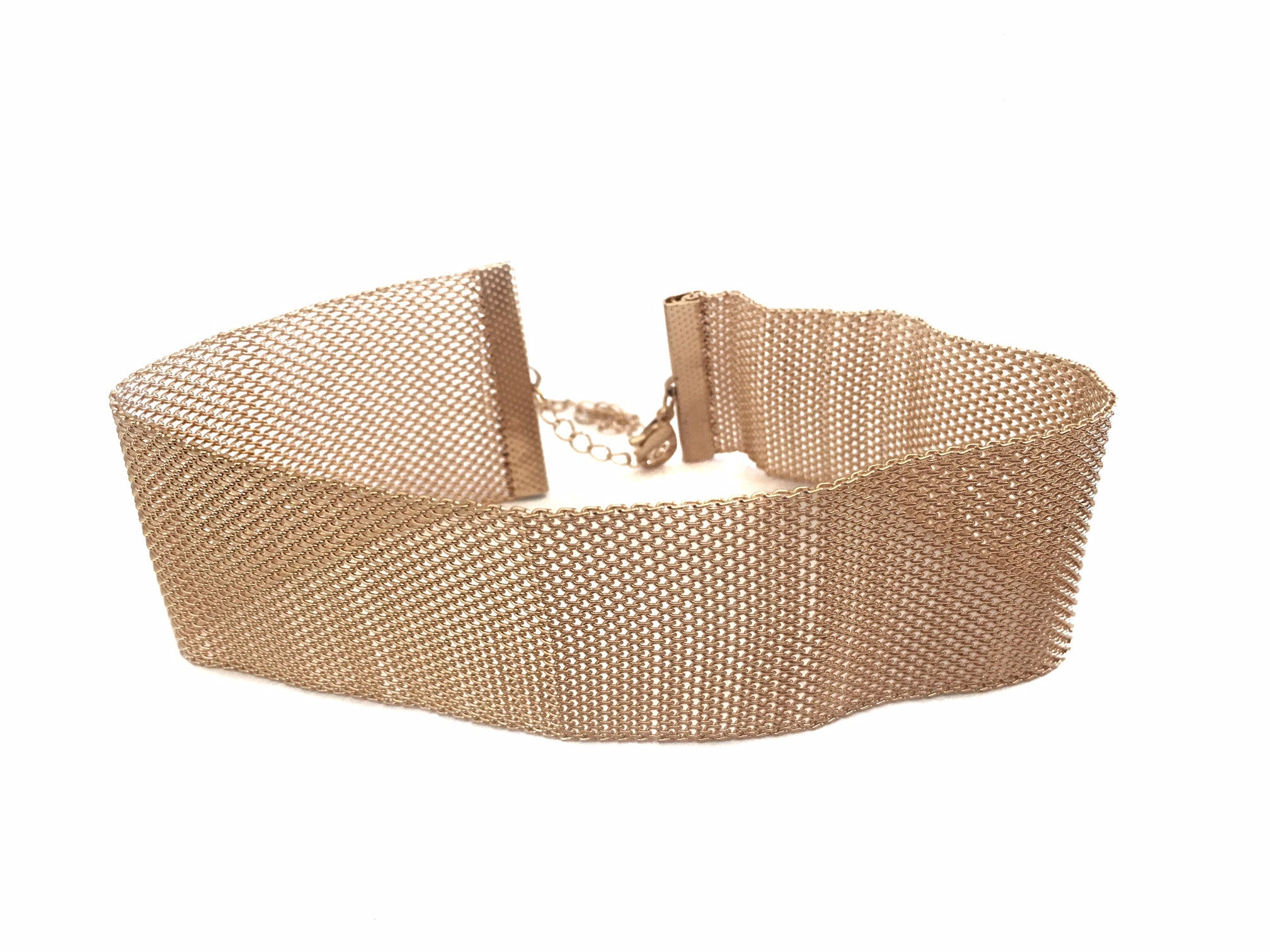 GOLD WIDE MESH CHOKER - Princess J. Jewelry