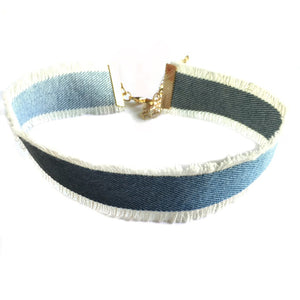 DISTRESSED DENIM CHOKER - Princess J. Jewelry