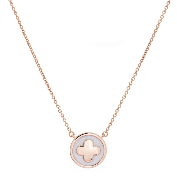 P314-RG - White enamel & rose gold flower necklace