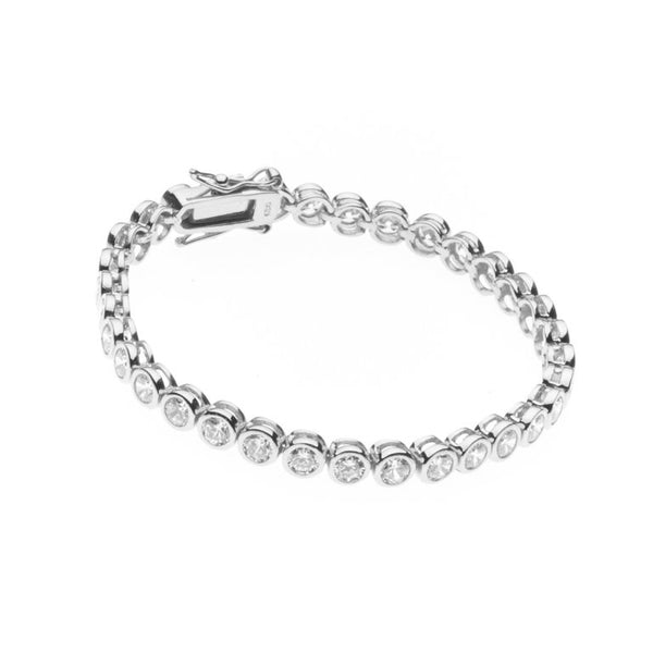 Medium Sterling Silver Tennis Bracelet - B102-RH