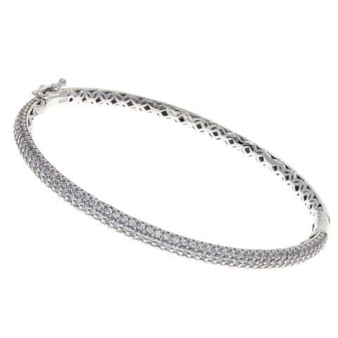 B1375 - Rhodium pave cz bangle
