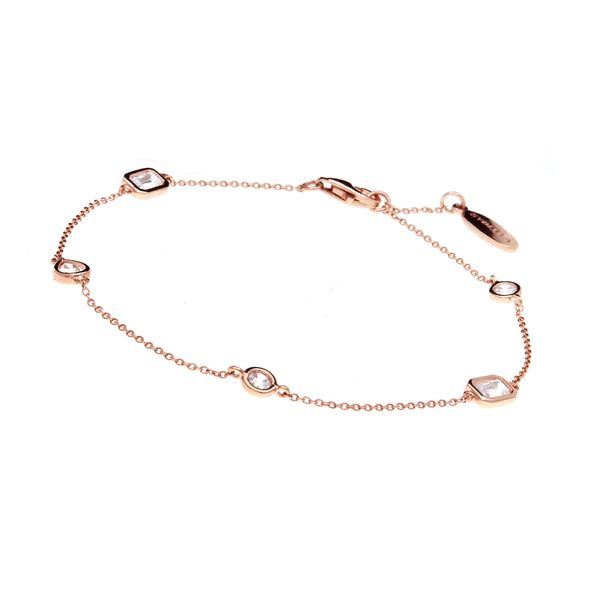 B1496-RG-Multi shape rose gold bracelet