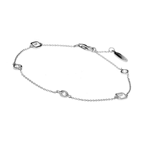 B1496-RH-Multi shape rhodium bracelet