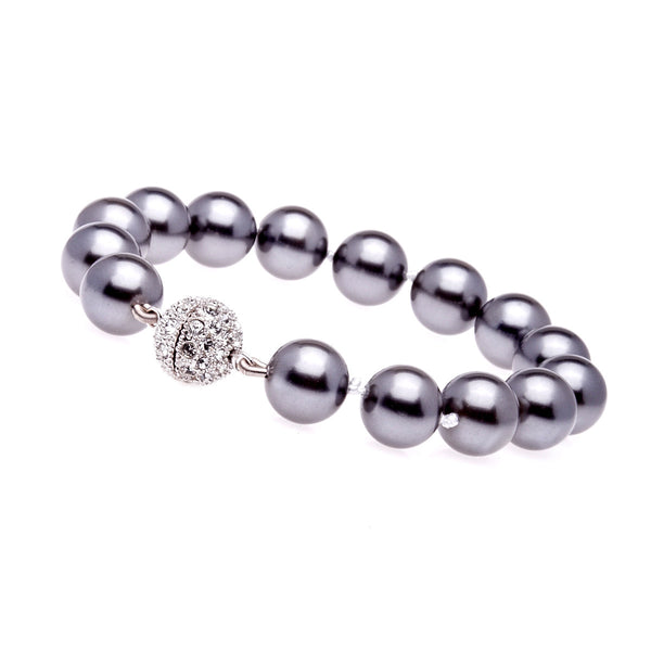 12mm grey pearl bracelet with silver cubic zirconia ball clasp - B212