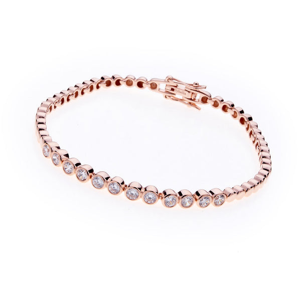 Rose Gold Plate Pave cubic zirconia bracelet - B2177-RG
