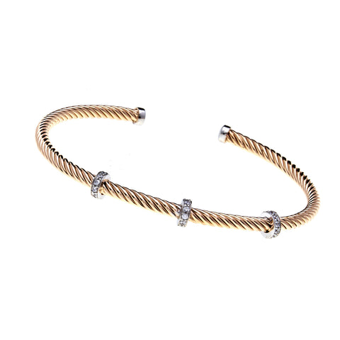 B222-GP - Yellow gold wire thin bracelet with cz's