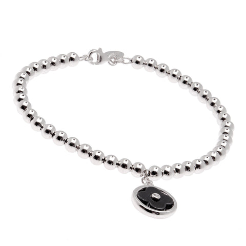 Rhodium ball & black ceramic flower bracelet- B232-BRH