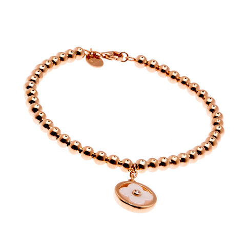 Rose gold ball & white ceramic flower bracelet- B232-WRG