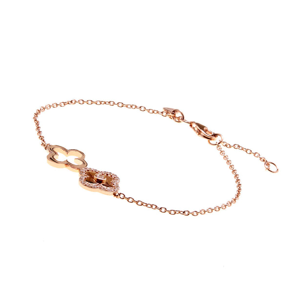 Rose gold plate solid & cubic zirconia double flower bracelet - B259-RG