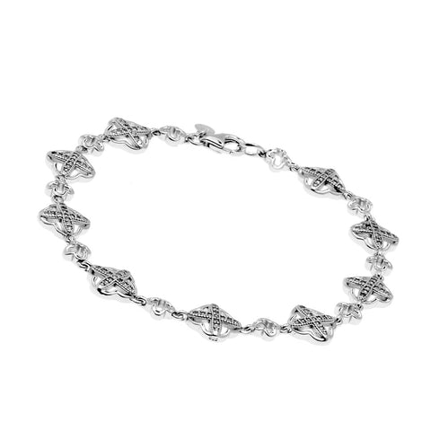 Rhodium cubic zirconia flower cross bracelet- B3896-RH