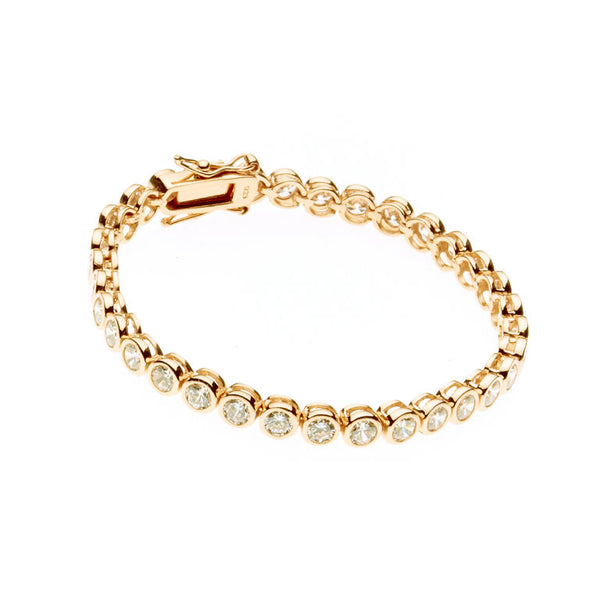 Gold 3mm CZ bezel tennis bracelet - B4102-GP