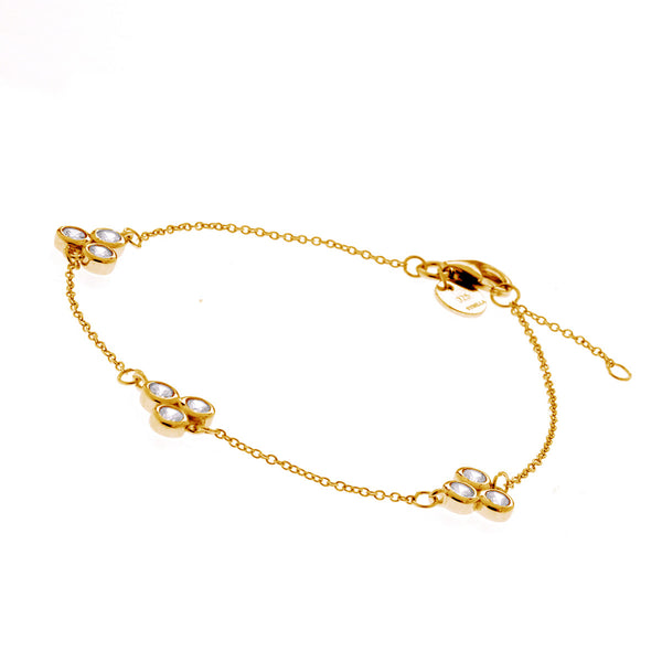 Yellow gold tri clear cubic zirconia fine chain bracelet- B517-YG