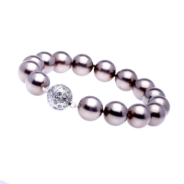 12mm coffee pearl bracelet with silver cubic zirconia ball clasp - B712