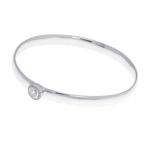 Sterling silver, rhodium plate & cubic zirconia bangle - B76-RH
