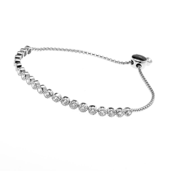 925 sterling silver, rhodium plate cubic zirconia tennis with adjustable tassle - B823-RH