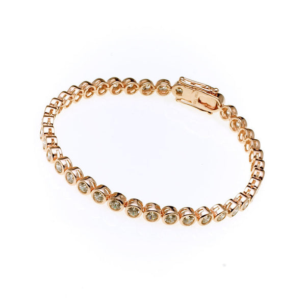 Rose gold plated cubic zirconia tennis bracelet - B4102-RG