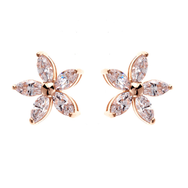 925 sterling silver, rhodium plate cubic zirconia flower stud Rose gold plate cubic zirconia flower stud - E101-RG