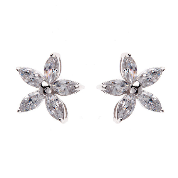 Sterling silver, rhodium plate flower stud earrings - E101-RH
