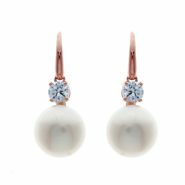 Rose gold plate cubic zirconia & freshwater pearl earrings - E1207-RG