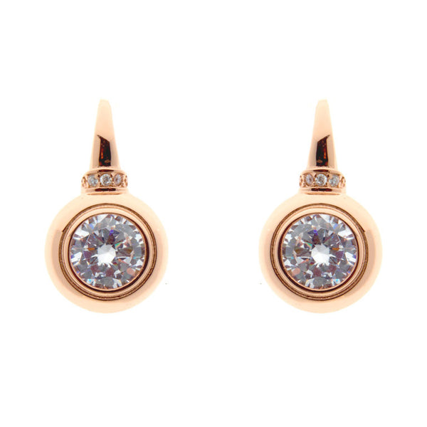Rose gold cubic zirconia earrings on Sybella hook - E142-RG