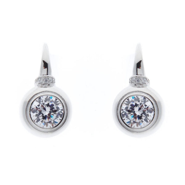 Sterling silver, rhodium plate cubic zirconia earrings on Sybella hook - E142-RH