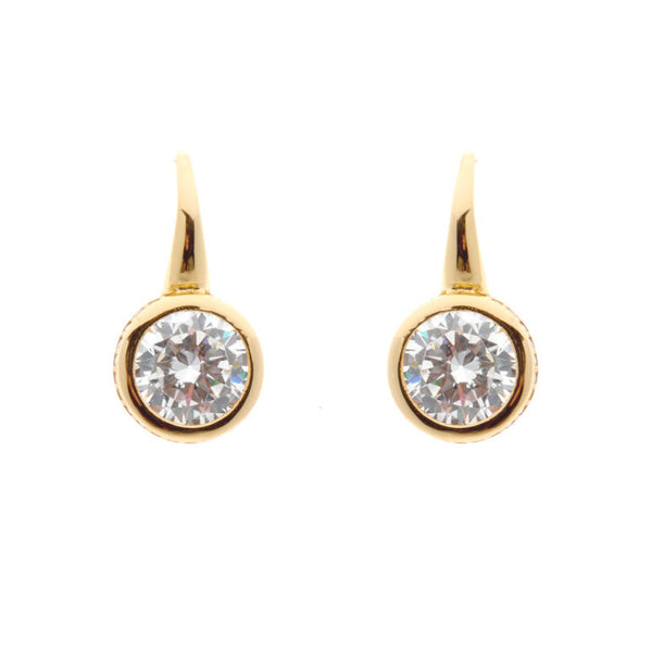 Yellow gold plate cubic zirconia earrings - E145-YG
