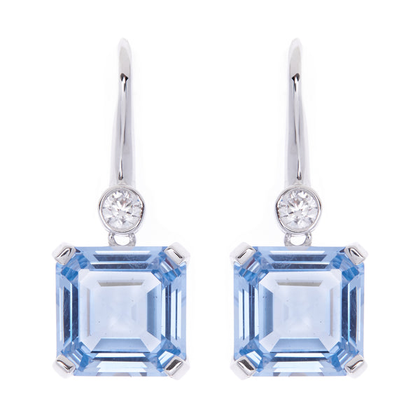E149-B - Clear blue cz earrings on Sybella hook