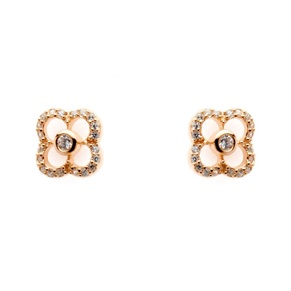 Rose gold plate cubic zirconia flower stud earrings - E155-RG