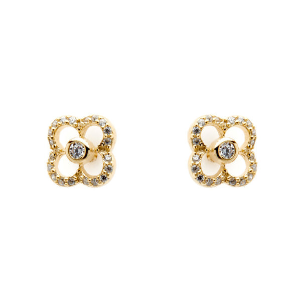 Yellow gold plate cubic zirconia flower stud earrings - E155-YG