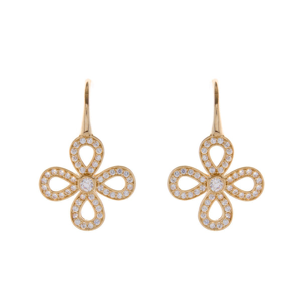 Gold plate open cubic zirconia flower earring - E161-YG