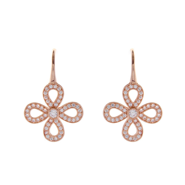 Rose gold plate open cubic zirconia flower earring - E161-RG