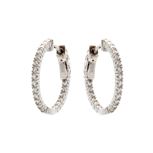 E170-20 - Rhodium 20mm cz hoops