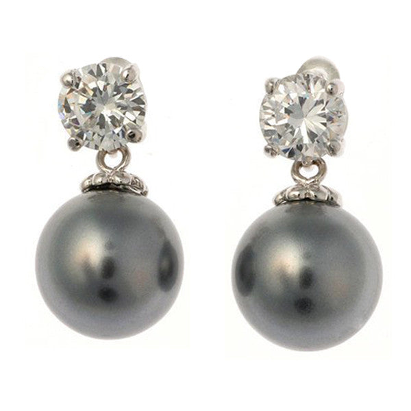 12mm grey cz pearl earring - E20-212RH