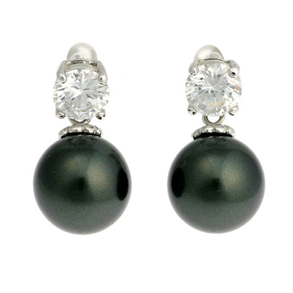 12mm black cz pearl earring - E20-608RH