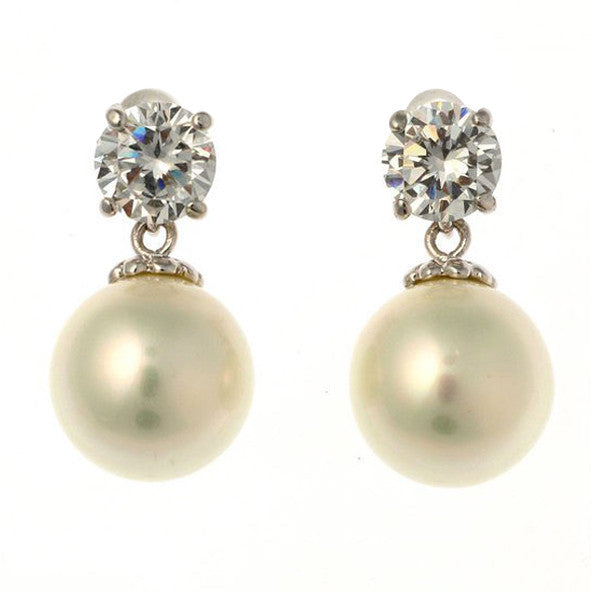 12mm white cz pearl earring - E20-701RH