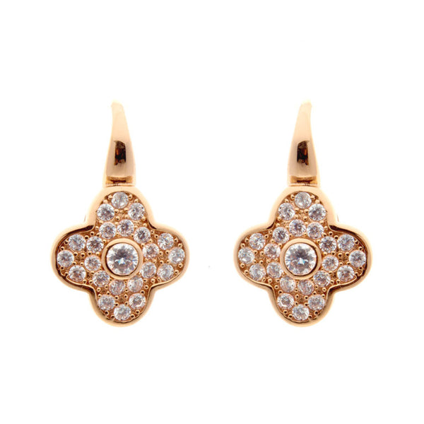 Rose gold plate cubic zirconia flower earrings - E201-RG