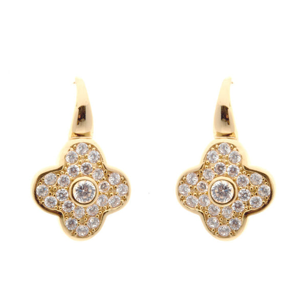 Yellow gold plate cubic zirconia flower earrings - E201-YG