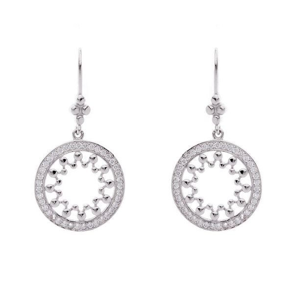 925 sterling silver, rhodium plate round earrings - E2013-RH