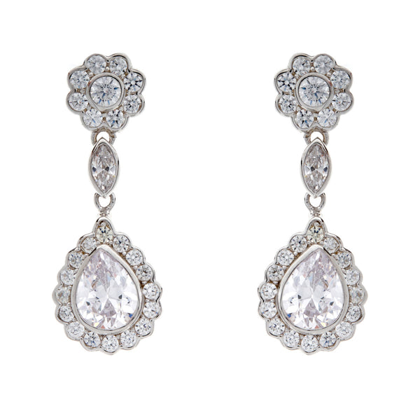 Silver cubic zirconia flower drop dress earrings- E2020