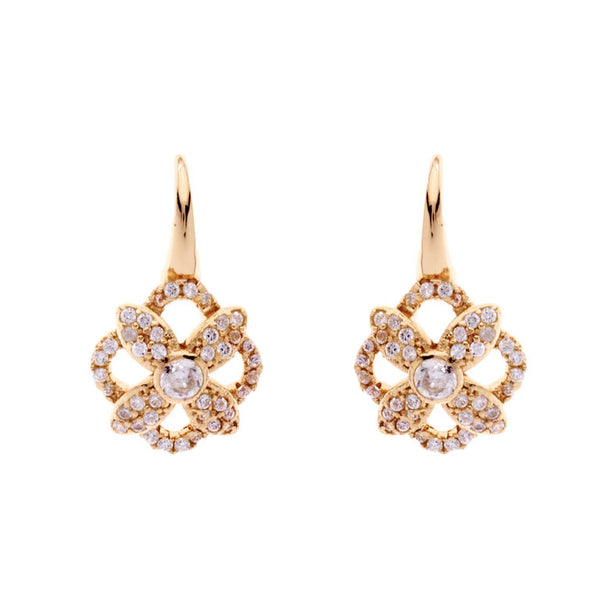 Yellow gold plate flower earrings on Sybella hook - E205-GP