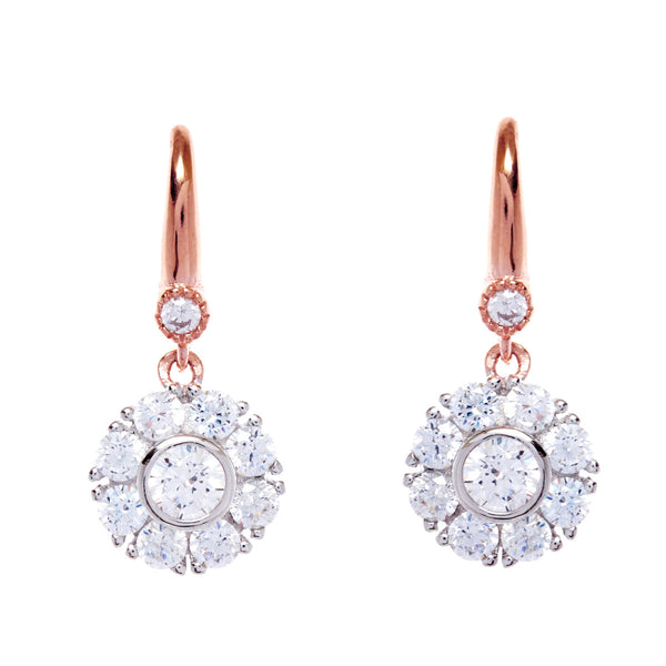 Silver cubic zirconia flower earrings on rose gold hook- E206-RG