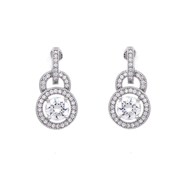 Rhodium micro-pave cz tear drop shape earrings - E20609