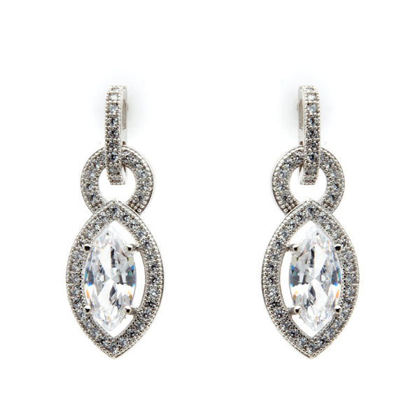 925 sterling silver, rhodium plate micro pave cubic zirconia earrings - E20610