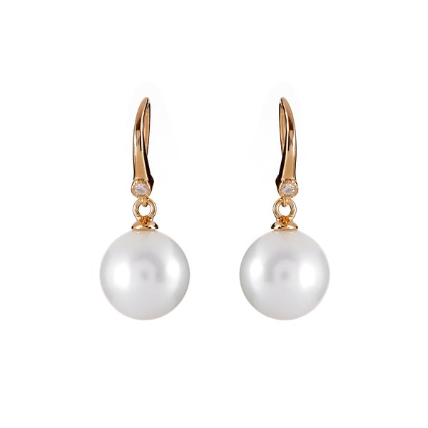 12mm white pearl, cubic zirconia earrings on gold plate hook - E207-YG