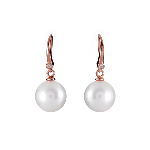 12mm white pearl, cubic zirconia earrings on rose gold plate hook - E207-RG