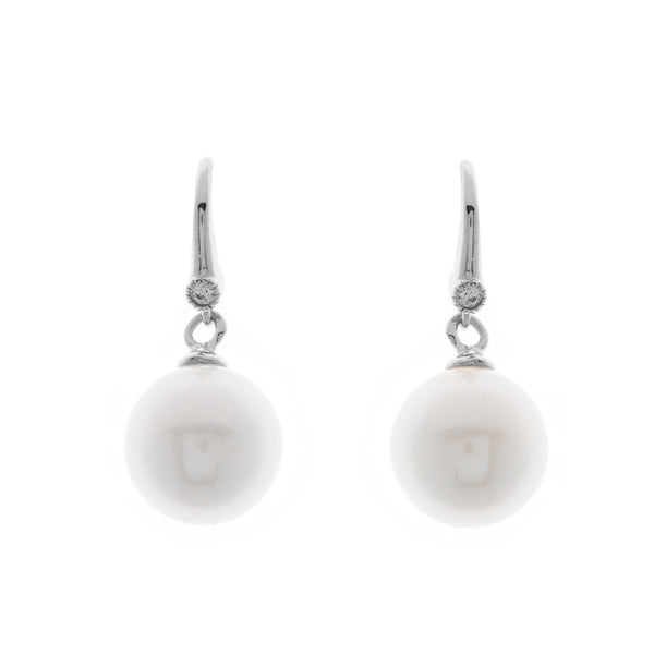 12mm white pearl, cubic zirconia earrings on silver hook - E207-RH